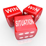 Win Win Situation Mutual Benefits Deal Arrangement Agreement. Win Win Situation words on three red dice as an agreement or arrangement that is mutually Royalty Free Stock Photography