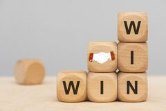 Free Win Win Situation Printed On Wooden Cubes Royalty Free Stock Image - 193396746