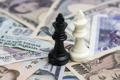 Win-win situation world money finance strategy, white and black Royalty Free Stock Images