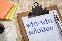 Win-win solution concept. Handwriting on a clipboard with a cup of coffee Royalty Free Stock Photos