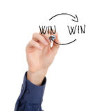Win-win strategy concept. Man write best business strategy on virtual board Stock Photos