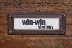 Win-win strategy - file cabinet tag Royalty Free Stock Photo