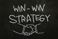 Win-Win Strategy. Win Win Strategy quotes and hand shakes, drawn with Chalk on Blackboard vector illustration