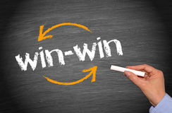Win win. Text 'win win' written on a blackboard with white chalk held in a female hand royalty free stock images