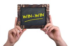 Win win. A woman holding chalkboard with words win win isolated on white background Royalty Free Stock Images