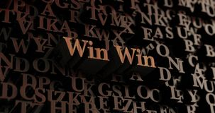 Win Win - Wooden 3D rendered letters/message Royalty Free Stock Photo