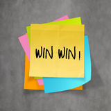 Win win words on crumpled sticky note paper Royalty Free Stock Photography