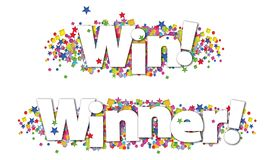 Win Winner Banner Colorful Stars Confetti. Win Winner Banner with colorful stars and confetti on an isolated white background two versions royalty free illustration