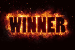 Win winner game fire burn flame text is explode. Explosion Royalty Free Stock Photos