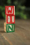 Win wood blocks Stock Photos