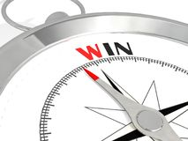 Win word on metalic compass. 3D rendering Royalty Free Stock Photo