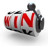 Win Word on Slot Machine Wheels - Gambling Stock Photography