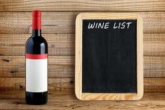 Wina blackboard dla wino listy i butelka obraz royalty free