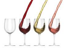 Wina dolewanie W szkło - set Zdjęcia Stock