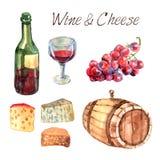 Wina i sera akwareli piktogramy ustawiający Zdjęcia Stock