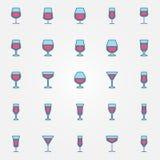 Wina szkła kolorowe ikony royalty ilustracja