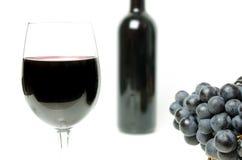 Wina szkła zakończenia widok z winogronami i butelką na tle Obrazy Stock