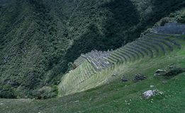 Winay Wayna. Is a sacred site along the Inca Trail in Peru. It`s located along the hiking trail to Machu Picchu stock image