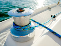 Winch with blue rope Royalty Free Stock Photos