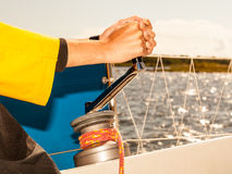 Winch capstan with rope on sailing boat. Stock Images
