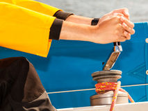 Winch capstan with rope on sailing boat. Stock Photos