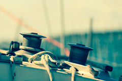 Winch capstan with rope on sailing boat. Royalty Free Stock Photography
