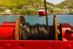 The winch for a ferry's ramp in the windward islands Stock Photography