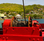 The winch for a ferry's ramp in the windward islands Royalty Free Stock Images