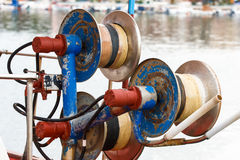 Winch for fishing nets royalty free stock photography