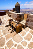 Winch house  castillo de las coloradas  lanzarote  spain the old Royalty Free Stock Photo