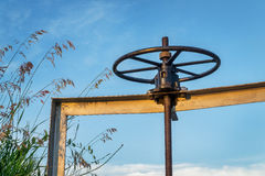 Winch of irrigation ditch gate Royalty Free Stock Photography