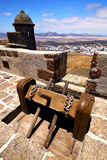 Winch    lanzarote  spain the old wall castle  sentry tower and Royalty Free Stock Photography