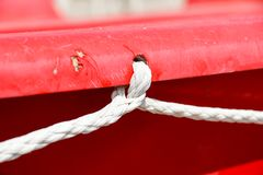 Winch with rope on sailing boat Stock Image