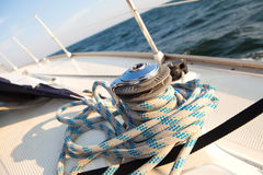 Winch with rope on sailboat Stock Image