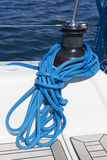 Winch and rope. Sailing winch and blue lines Stock Photos