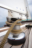 Winch with rope on sailing boat royalty free stock photography