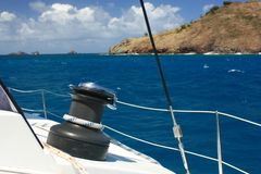 Winch and rope on sailing boat Royalty Free Stock Images