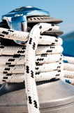 Winch with rope on a sailing boat stock photo