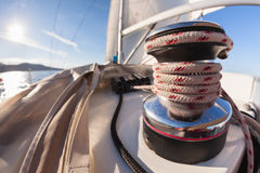 Winch with rope on sailing boat Stock Photos