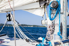 Winch with rope on sea yacht Stock Photo
