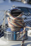 Winch with rope on the yacht Stock Photography