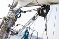 Winch with rope on yacht deck Stock Images