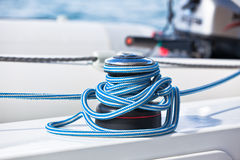 Winch and rope, yacht detail. Royalty Free Stock Photography