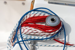 Winch with Ropes on a Sailboat Royalty Free Stock Photo