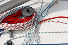 Winch with Ropes on a Sailboat Stock Image