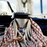 Winch and ropes on a yacht Stock Photos