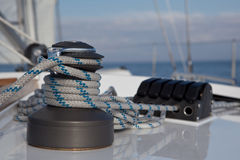 Winch on sailboat Royalty Free Stock Photography