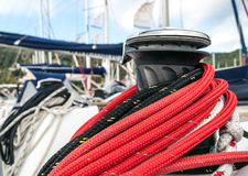 Winch in sailboat Royalty Free Stock Image