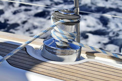 Winch on a sailboat Royalty Free Stock Photography