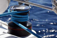 Winch on a sailboat Stock Photo